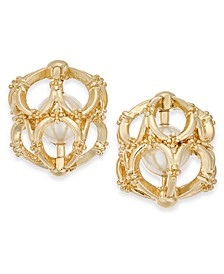 Gold-Tone White Imitation Pearl Cage Stud Earrings, Created For Macy's
