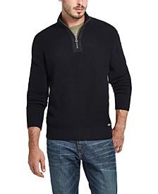 Men's Waffle Texture Quarter-Zip Sweater
