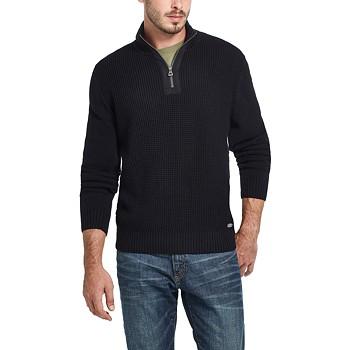 Weatherproof Vintage Men's Waffle Texture Quarter Zip Sweater