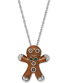 "Smoky Quartz (5/8 ct. t.w.) & Lab-Created White Sapphire Accent Gingerbread Man 18"" Pendant Necklace in Sterling Silver"