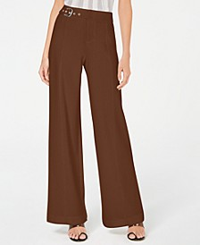 INC Petite Side-Belt Wide-Leg Pants, Created for Macy's
