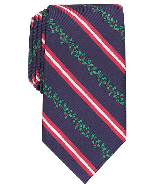 Club Room Men's Classic Holly Stripe Tie, Created For Macy's