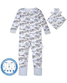 Baby Boys 2-Pc. Camo-Print Pajama & Bear Blankie Buddy Set, Created For Macy's