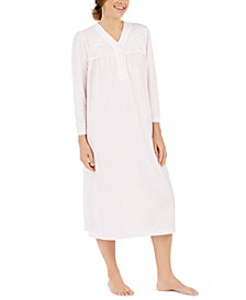 Brushed Honeycomb Pointelle Knit Solid Long Nightgown
