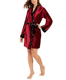 INC Women's Floral Trim Velvet Ribbed Robe, Created For Macy's