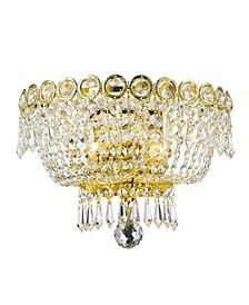 Empire 2-Light Gold Tone Finish and Clear Crystal Wall Sconce Light