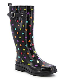 Women's Regular Printed Tall Rubber Rain Boots