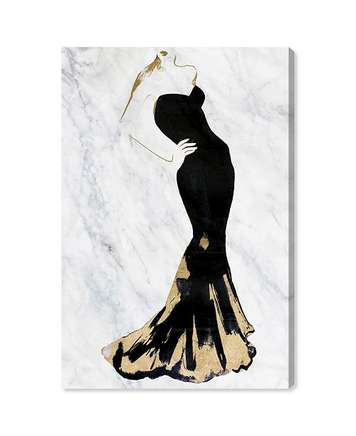 "Oliver Gal Gill Bay - Black Dress Gold and Marble Canvas Art, 16"" x 24"""
