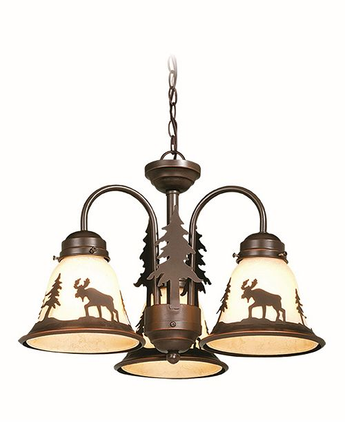 Vaxcel Yellowstone 3 Light Rustic Moose Amber Glass Chandelier
