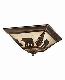 Bozeman Amber Glass Rustic Bear Flush Mount Light