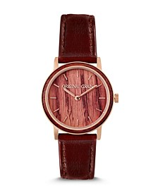 Women's Reclaimed Wine Barrel Staines with Genuine Leather Watch 34mm