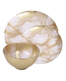 Classic Touch 12 Piece Marbleized Dinnerware Set
