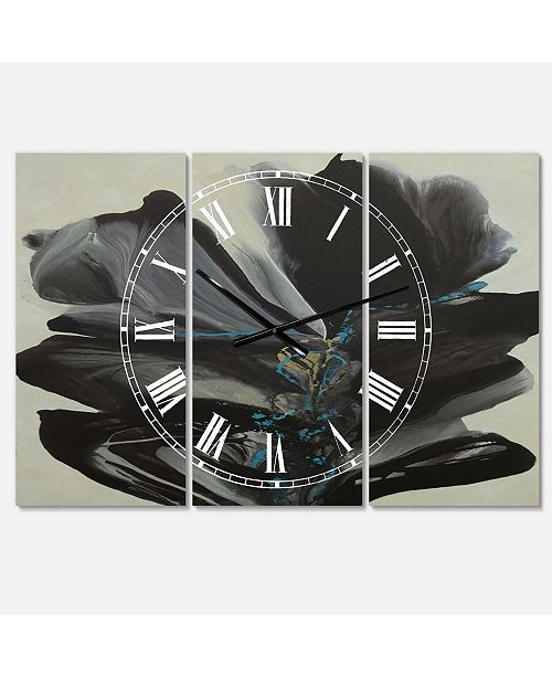 "Designart Many Shades of Gray 2 Oversized Modern 3 Panels Wall Clock - 38"" x 38"" x 1"""