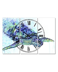 "Sea Turtle Oversized Cottage 3 Panels Wall Clock - 38"" x 38"" x 1"""