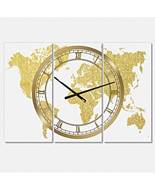 "Golden Map of the Earth Large Fashion 3 Panels Wall Clock - 23"" x 23"" x 1"""