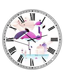 "Placido Flamingo Large Mid-Century Wall Clock - 36"" x 28"" x 1"""