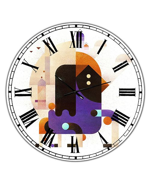 "Designart Waiting For Tomorrow Large Mid-Century Wall Clock - 36"" x 28"" x 1"""