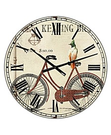 "Bike-Keating Bicycle Large Cottage Wall Clock - 36"" x 28"" x 1"""
