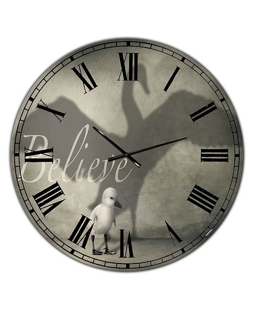 "Designart Believe Shadow IV Large Cottage Wall Clock - 36"" x 28"" x 1"""