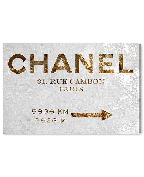 """Oliver Gal Couture Road Sign Canvas Art, 45"""" x 30"""""""