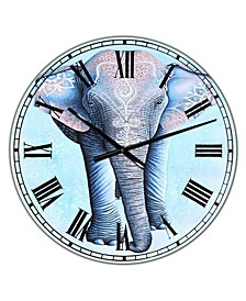 "Painted Asian Elephant Large Cottage Wall Clock - 36"" x 28"" x 1"""