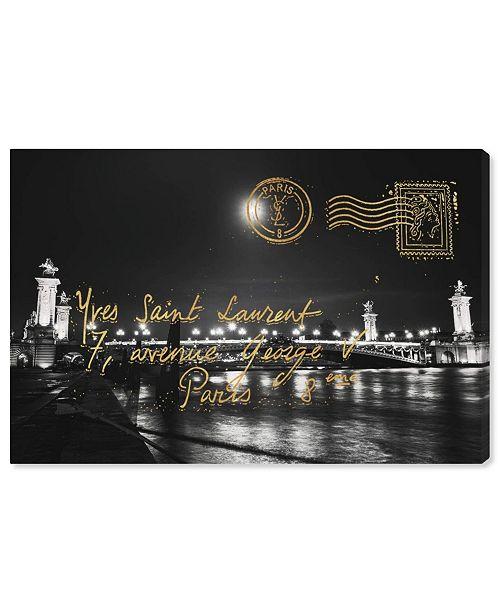 """Oliver Gal Paris Gold Letter Canvas Art, 24"""" x 16"""""""