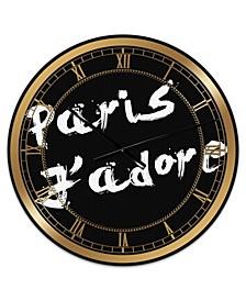 "Paris Jadore Oversized Fashion Wall Clock - 36"" x 28"" x 1"""