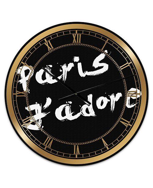 "Designart Paris Jadore Oversized Fashion Wall Clock - 36"" x 28"" x 1"""