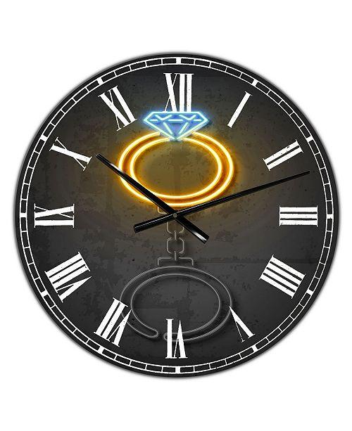 "Designart Diamond Ring Large Modern Wall Clock - 38"" x 38"" x 1"""