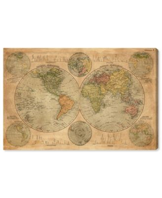 Hemispheres Map 1891 Canvas Art, 45