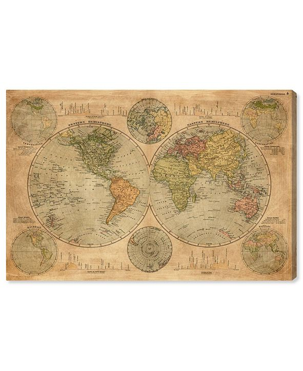 "Oliver Gal Hemispheres Map 1891 Canvas Art, 45"" x 30"""