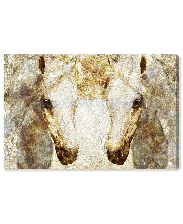 "Oliver Gal Gold Stallions Canvas Art, 45"" x 30"""
