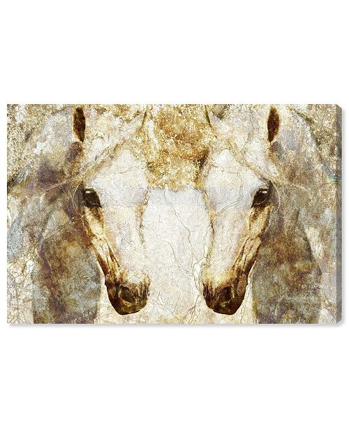 "Oliver Gal Gold Stallions Canvas Art, 15"" x 10"""
