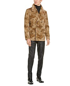 Men's Slim-Fit Tan & Black Cheetah Print Velvet Double Breasted Peacoat