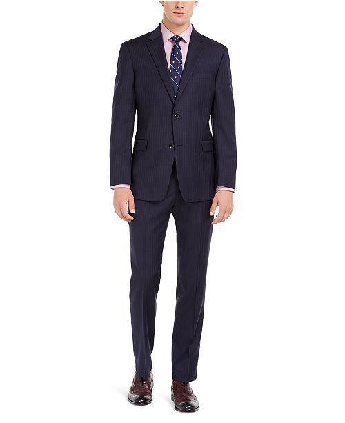 Tommy Hilfiger Men's Modern-Fit THFlex Stretch Navy Pinstripe Suit Separates