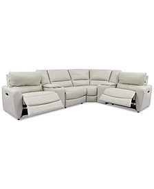 Danvors 6-Pc. Leather Sectional Sofa with 2 Power Recliners, Power Headrests, 2 Consoles, and USB Power Outlet