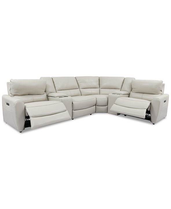 Furniture Danvors 6-Pc. Leather Sectional Sofa with 2 Power Recliners, Power Headrests, 2 Consoles, and USB Power Outlet
