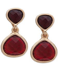 Gold-Tone Stone E-Z Comfort Clip-On Drop Earrings