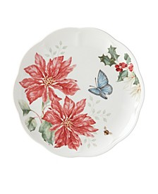Butterfly Meadow Holiday Accent Plate Poinsettia