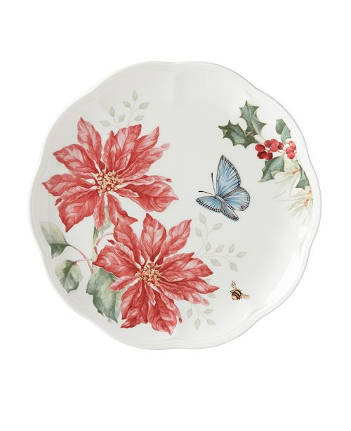 Lenox Butterfly Meadow Holiday Accent Plate Poinsettia