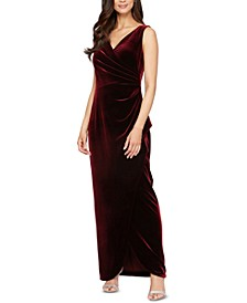 Petite Velvet Surplice Gown