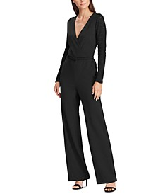 Petite Lace-Panel Jersey Jumpsuit