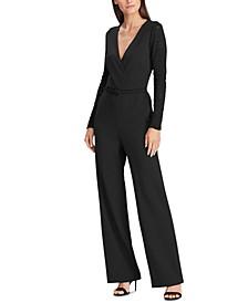 Lace-Panel Jersey Jumpsuit