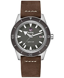 Men's Swiss Automatic Tradition Brown Leather Strap Watch 42mm
