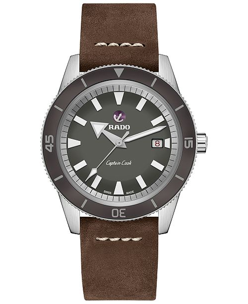 Rado Men's Swiss Automatic Tradition Brown Leather Strap Watch 42mm