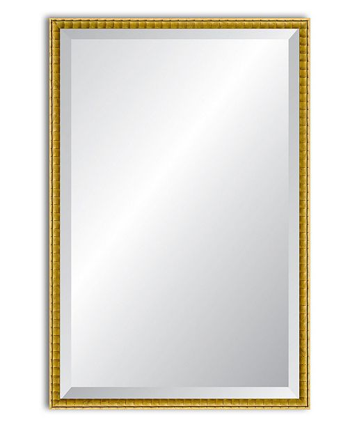"Reveal Frame & Decor Reveal Golden Bamboo Beveled Wall Mirror - 24"" x 37.5"""
