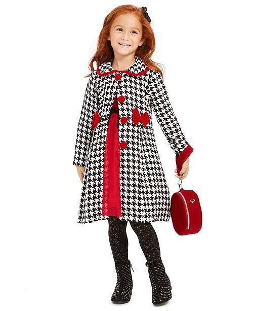 Blueberi Boulevard Little Girls 2-Pc. Velvet Dress & Houndstooth Jacket Set