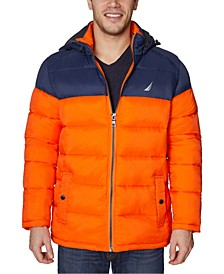 Men's Water-Resistant Puffer Jacket with Removable Hood