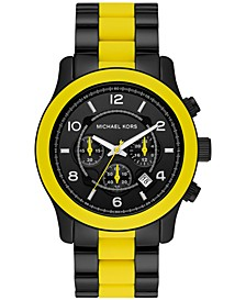 Men's Chronograph Runway Yellow Silicone & Black Ion-Plated Stainless Steel Bracelet Watch 45mm