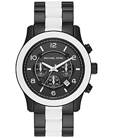 Men's Chronograph Runway White Silicone & Black Ion-Plated Stainless Steel Bracelet Watch 45mm